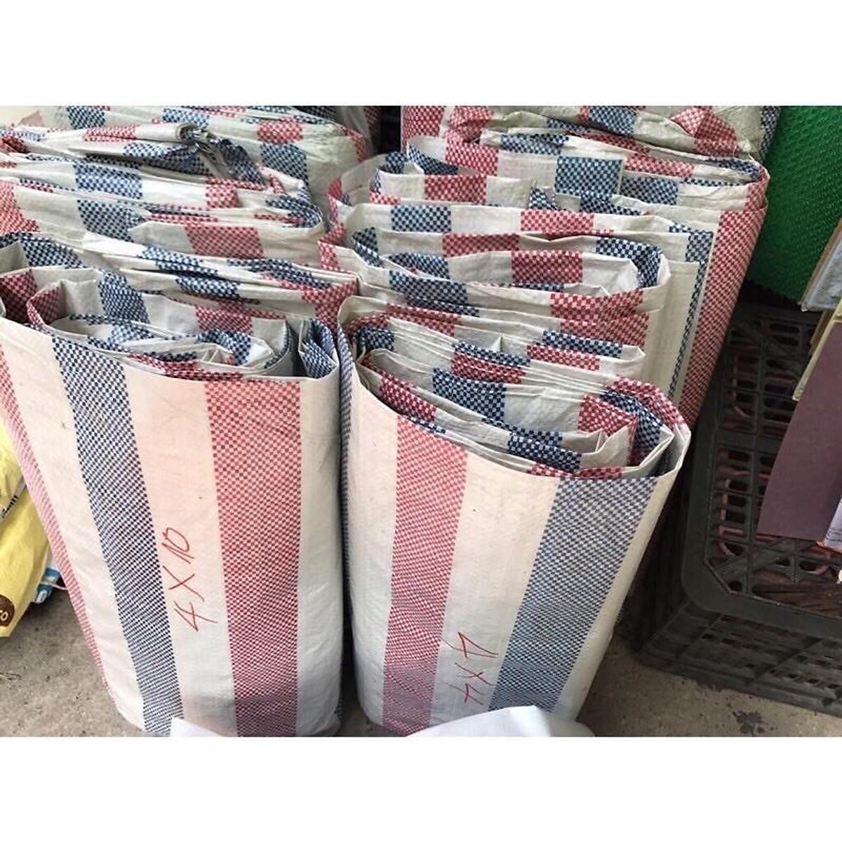 Báo giá bạt sọc kẻ 3 màu xanh đỏ, xanh trắng khổ 2m, 4m, 6m giá rẻ