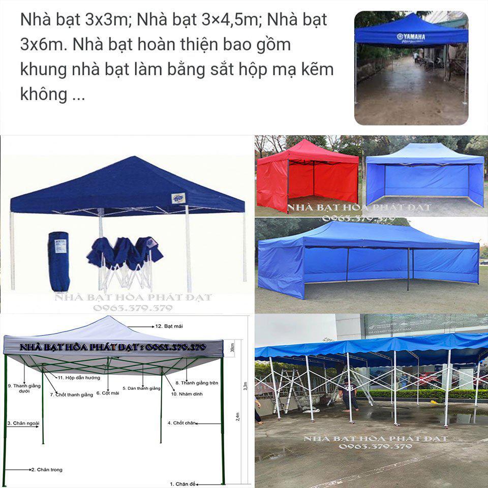 Báo giá bán lều xếp di động, lều bạt giá rẻ kt 3x3m, 3x4,5m và 3x6m