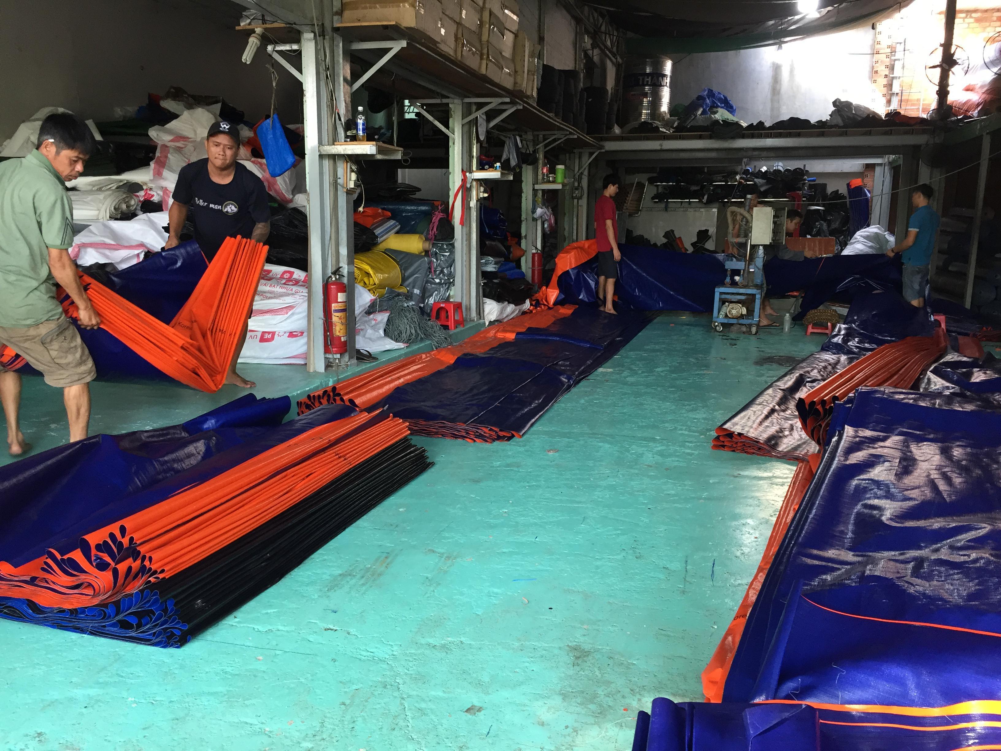 Nhà máy bạt nhựa 2 da hàn quốc xanh cam, xanh vàng, xanh đỏ giá rẻ